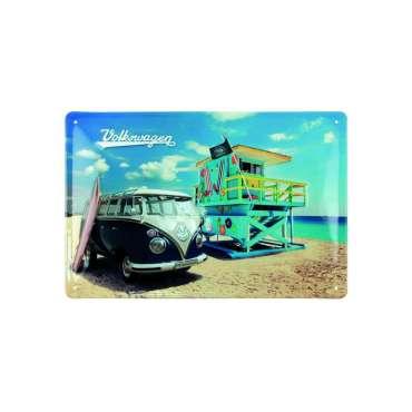 Plaque métal VOLKSWAGEN Bleu Beach, horizontale